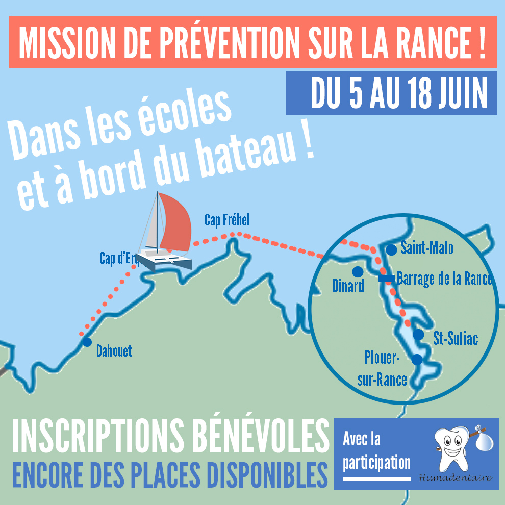 Inscription dentistes bénévoles : Mission de prévention de Dahouet à la Rance à bord du catamaran Océan Dentiste du 5 au 18 juin 2021