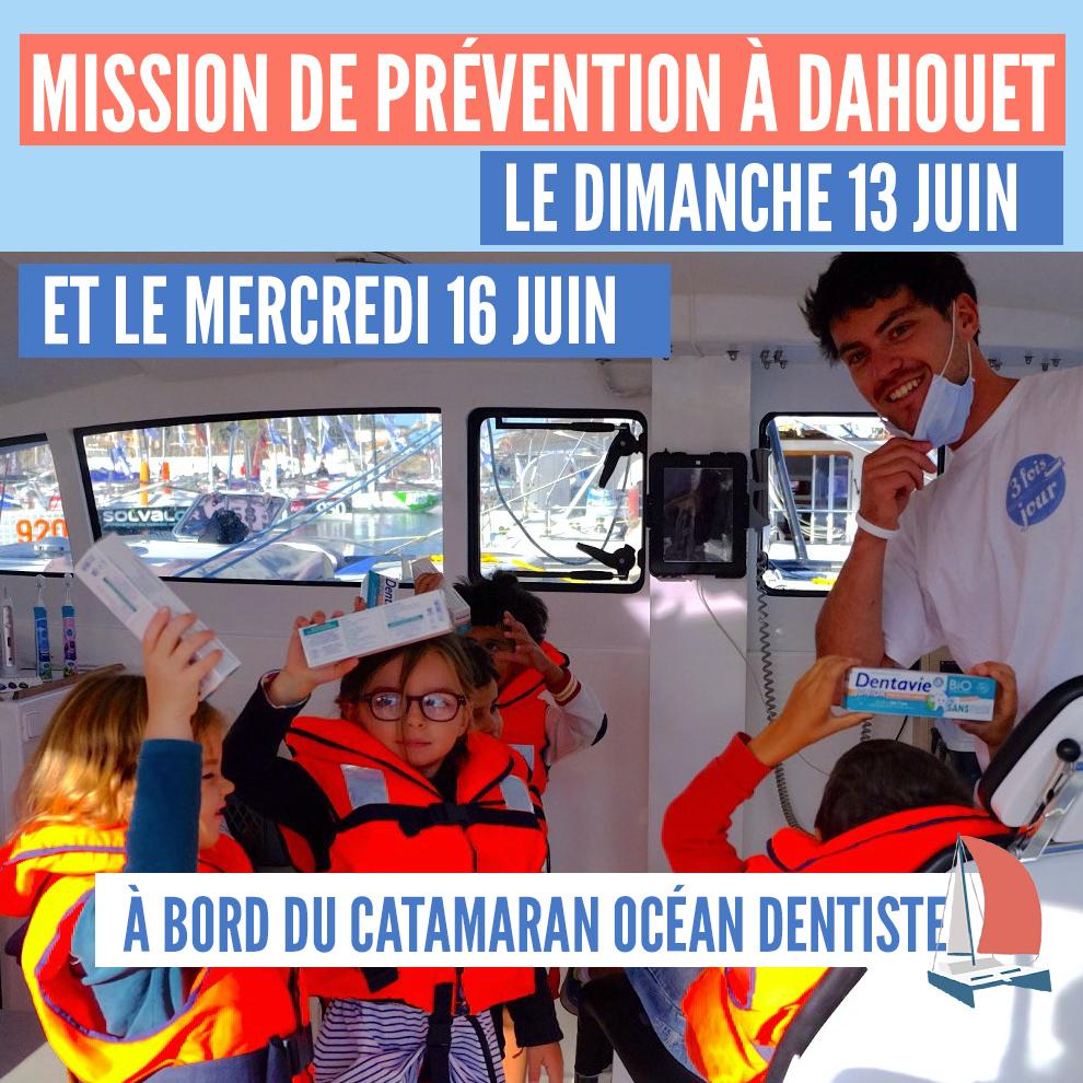 Inscription familles : Mission de prévention à Dahouet à bord du catamaran Océan Dentiste le dimanche 13 juin et le mercredi 16 juin 2021